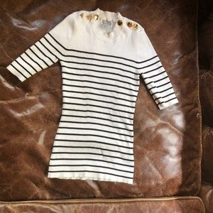 H&M blue white stripe shirt top gold buttons mock